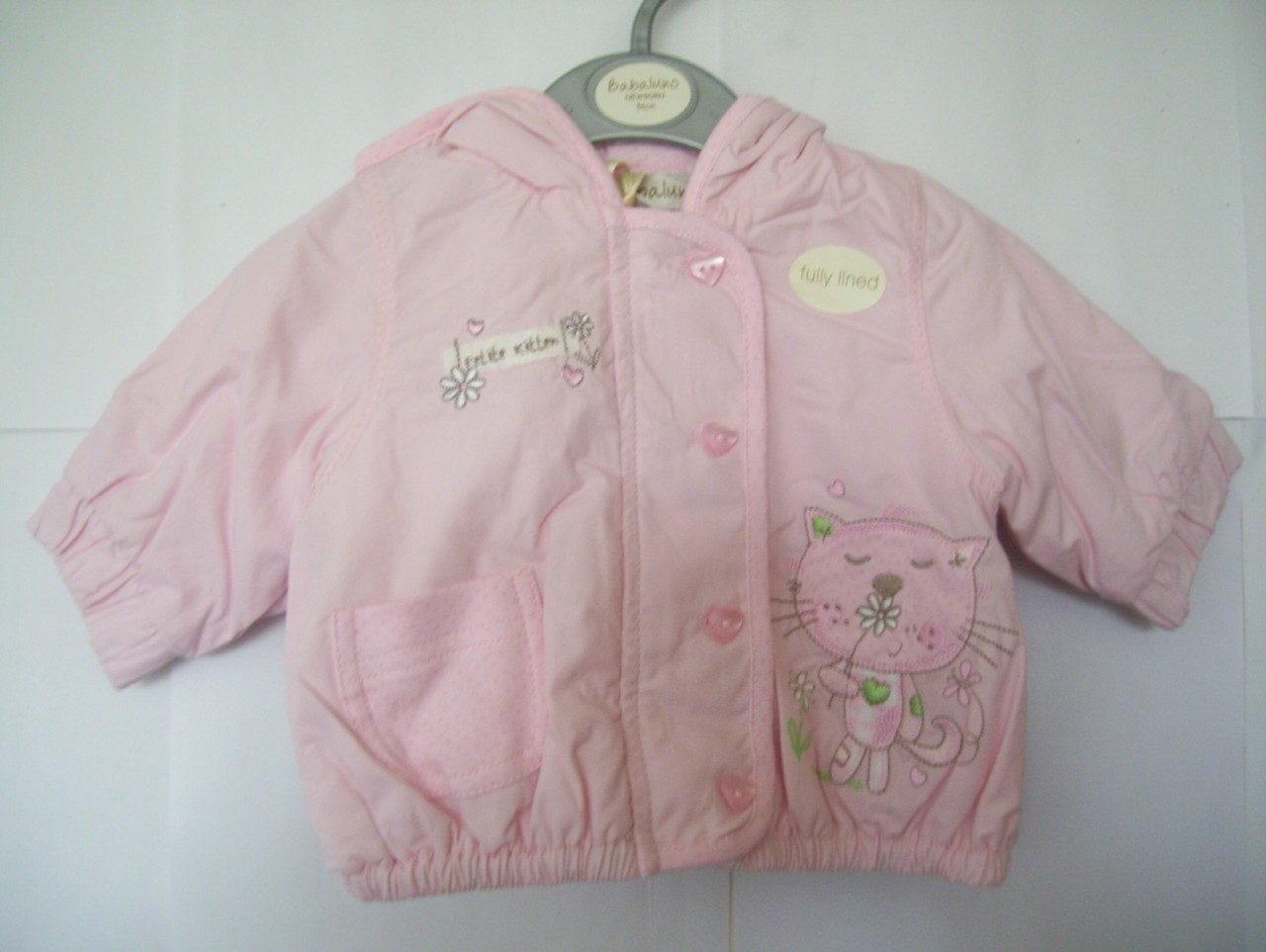 Baby-girls-pink-Babaluno-fully-lined-hooded-puffball-coat-in-age-newborn-0-3m