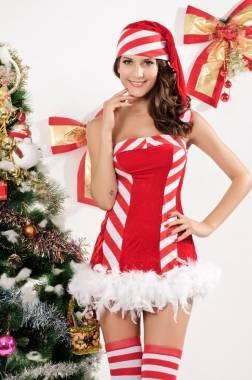 Sexy christmas xmas santa mrs claus candy cane elf fancy dress costume