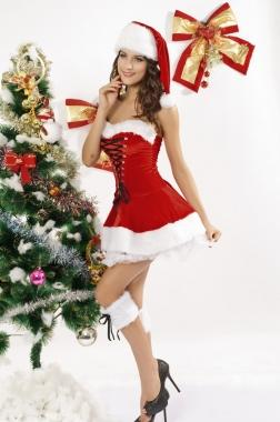Details about sexy christmas xmas santa mrs claus elf maid fancy dress