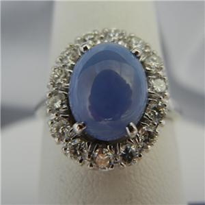 Blue Star Sapphire and Diamond Ring in 14K White Gold   Size 7 1/2