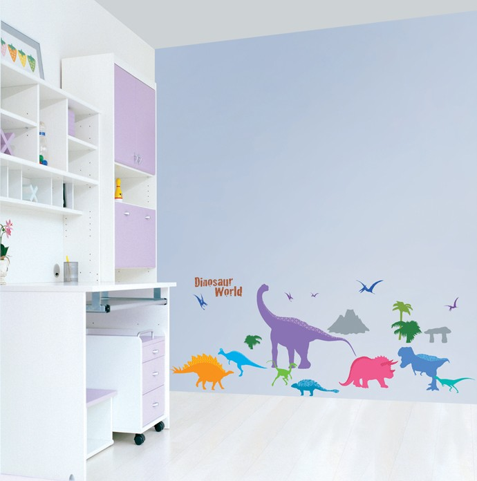 DINOSAUR KIDS ROOM Adhesive Removable Wall Decor Accents Sticker Decal