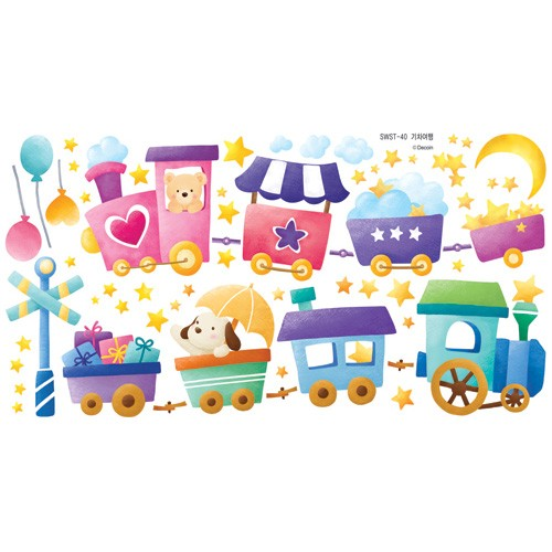 Train Travel KIDS Adhesive Removable Wall Home Decor Accents Stickers