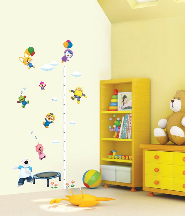 PORORO Height Growth Chart KIDS Room Adhesive Removable Wall Decor