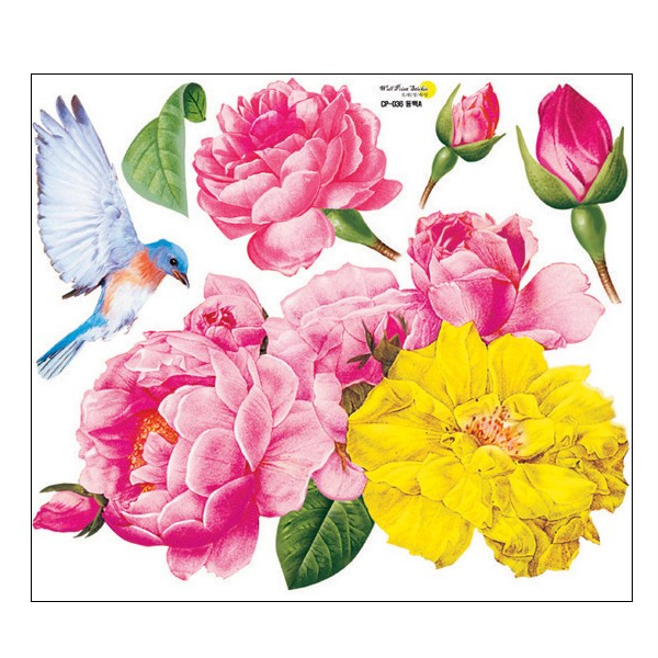 Camellia Flowering Tree & Birds Adhesive Removable Wall Decor Accents