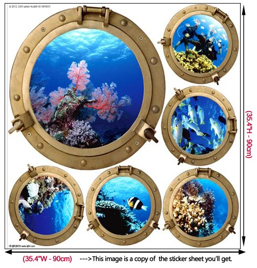 Submarine Window Adhesive Removable Wall Decor Accents Mural Fabric