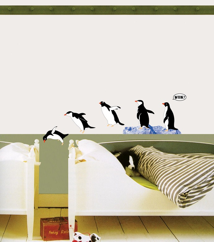 Penquins KIDS Wall STICKER Removable Adhesive Decal