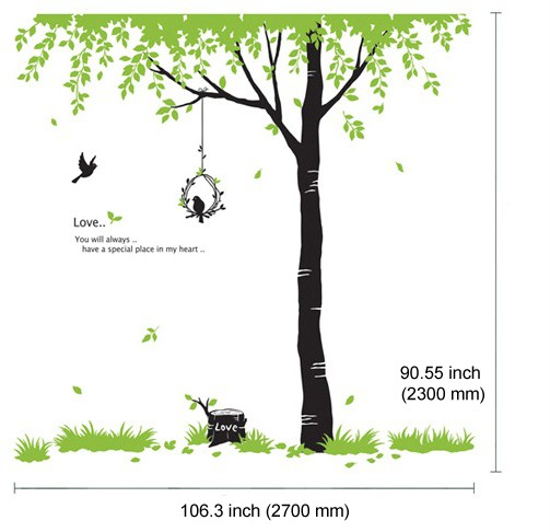 Huge Tree & Birds Adhesive WALL STICKER Removable Decal