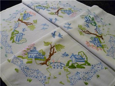 Vintage Hand Embroidered Linen Coloured Blue Willow