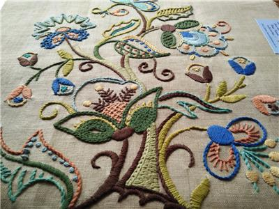 Tree of Life Jacobean Vintage Crewel Hand Embroidered