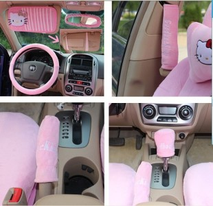 New Hello Kitty Car Auto Seat Front Rear Cover Cushion Heart 18pcs