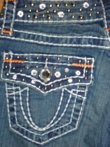 jeans RHINESTONE boot cut 31 THICK WHITE STITCH 9 ~like LA IDOL