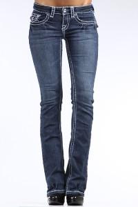 juniors CLASH jeans FLEUR DE LIS crystal 34 THICK WHITE STITCH 15~like