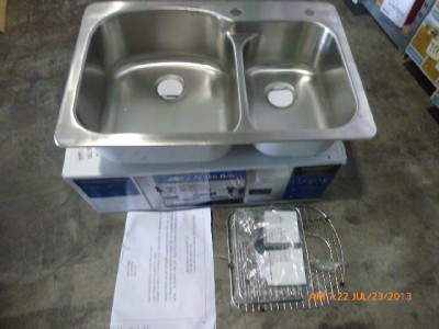 glacier bay 552008 top mount double bowl brushed stainless kitchen