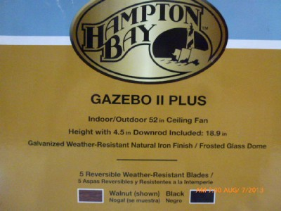 "Hampton Bay 791647 Gazebo II Plus Indoor Outdoor 52"" Ceiling Fan Iron 3698 D"