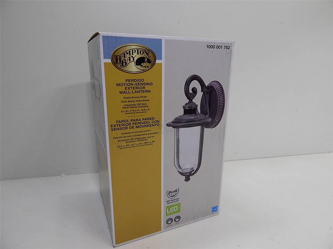 Hampton Bay 1000001782 Perdido Motion Sensor Exterior Wall Lantern Bronze 14494 Ebay