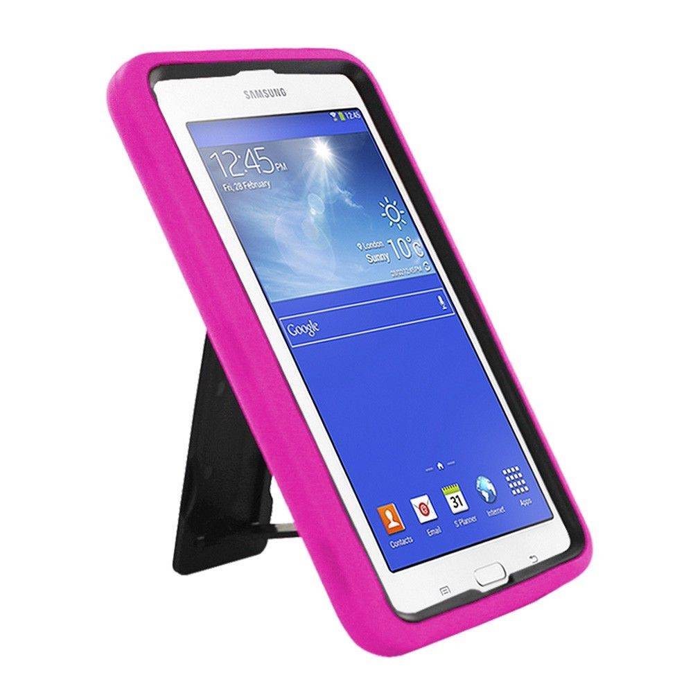 pink silicone combo box cover w stand for samsung galaxy tab 3 lite 7 0 sm t110. Black Bedroom Furniture Sets. Home Design Ideas