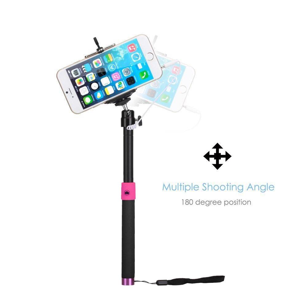 black selfie stick smartphone monopod with remote button for iphone samsung htc ebay. Black Bedroom Furniture Sets. Home Design Ideas