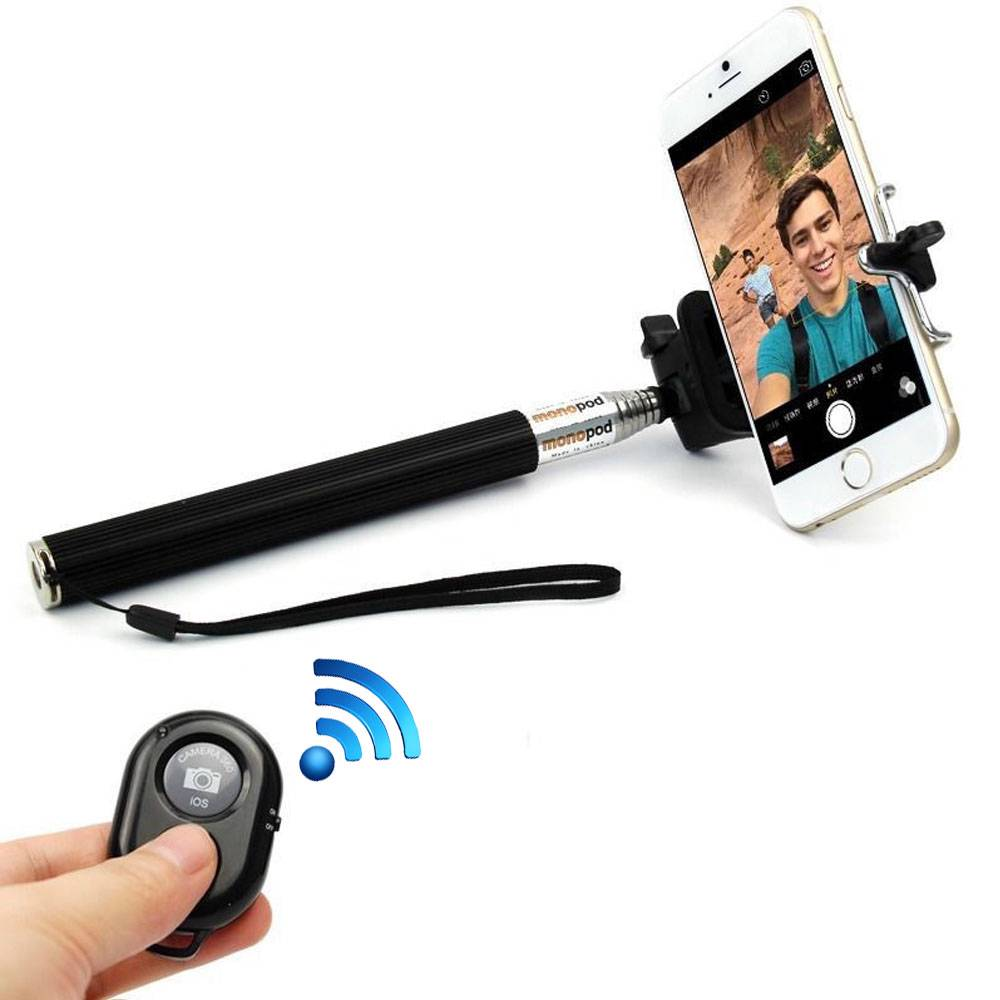 selfie stick monopod extendable telescopic holder with bluetooth remote contr. Black Bedroom Furniture Sets. Home Design Ideas