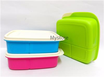 tupperware 3x lolly tup kids bento lunch box set 550ml in green blue pink. Black Bedroom Furniture Sets. Home Design Ideas