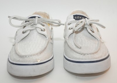 Black Sperry Boat Shoes On Bahama White Sequins Top Sider Classic Shoe Women