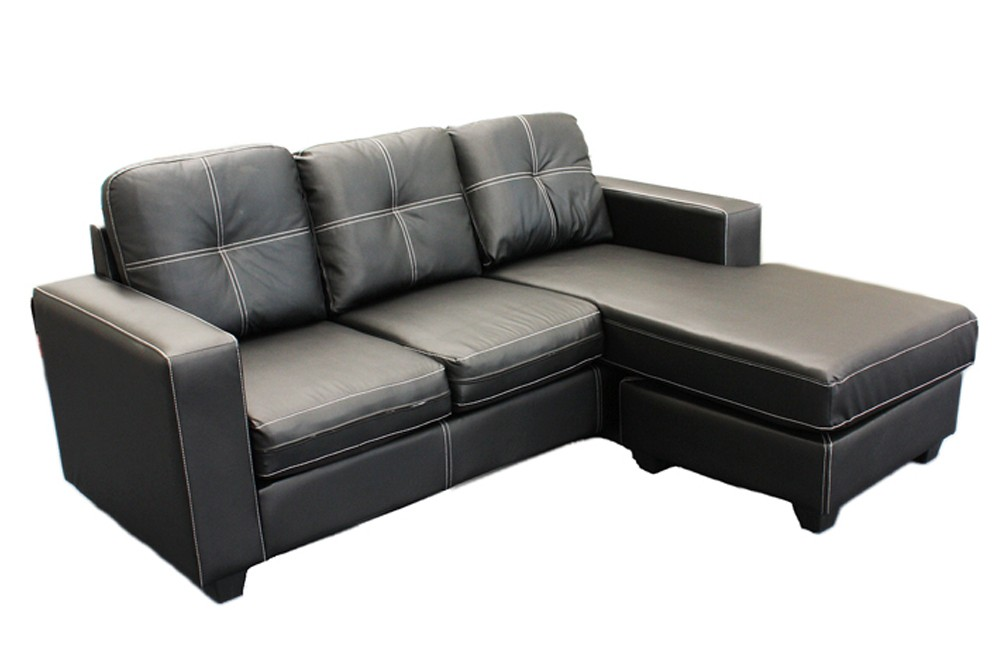 New l shaped leather suite 3 seater sofa lounge couch w for L shaped chaise lounge