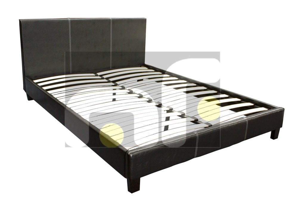 Queen Size PU Leather Black BED Frame Memory Foam Pillow