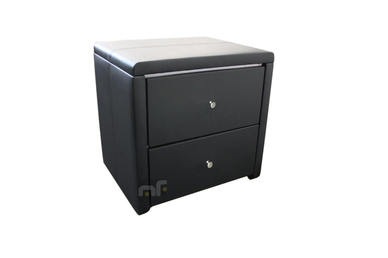 Modern black bedside table - Details About New Modern Leather Mdf Bedside Table 2 Drawers Black