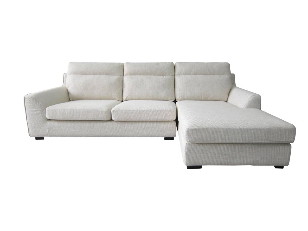 Modern fabric light beige 2 seater gorgeous sofa with for Beige sofa with chaise