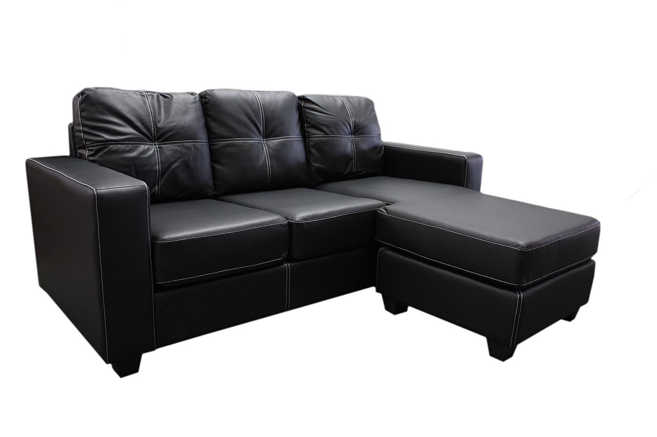 Nowra 3 seater l shaped leather suite sofa lounge couch w for Couch w chaise lounge
