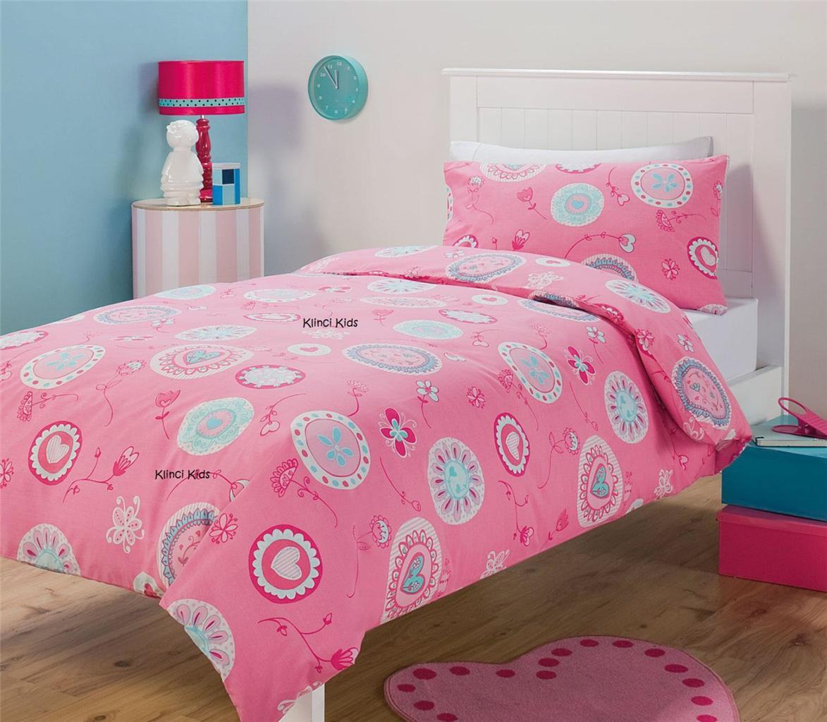 johana hearts flowers girl pink single twin bed quilt duvet cover set. Black Bedroom Furniture Sets. Home Design Ideas