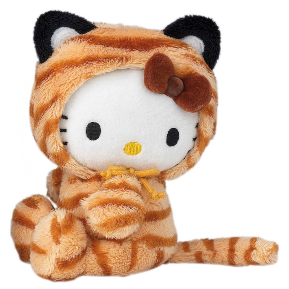 hello kitty 39 tiger 39 dress up beanie soft toy plush 15cm platform display. Black Bedroom Furniture Sets. Home Design Ideas