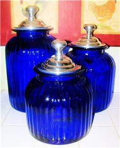 Cobalt blue kitchen canister set glass hand blown ebay - Blue glass kitchen canisters ...