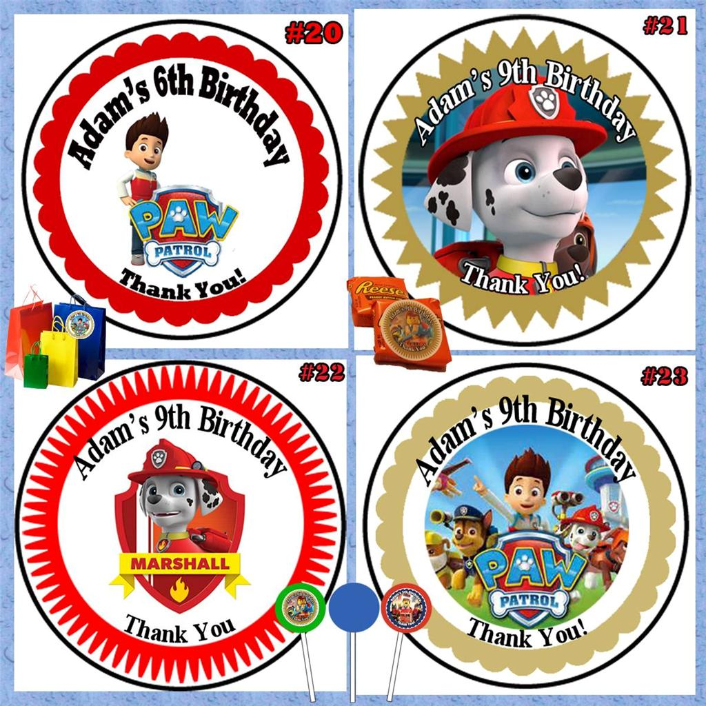 Paw Patrol Birthday Favor Bag/Box Stickers/Labels Candy Bar Wrappers Personalize | eBay