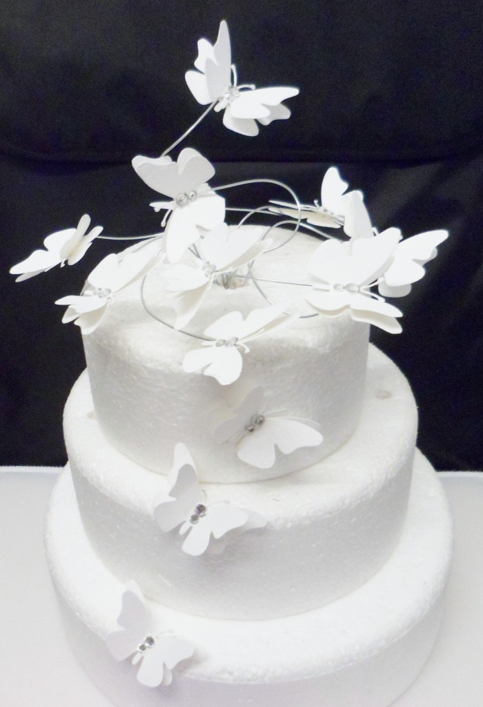 diamante set white BUTTERFLY SWIRL birthday wedding cake ...