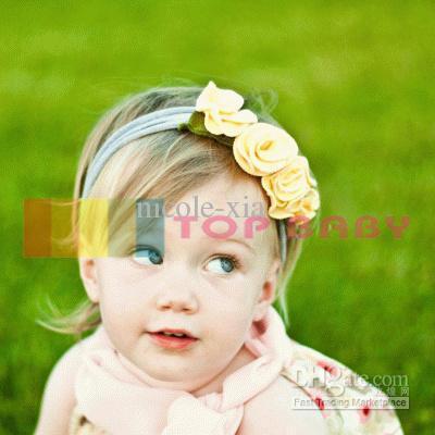 yellow flower bow head band hair baby girls children