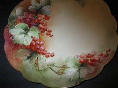 Antique Handpainted Vienna Austria Currant Berries Plate Signed