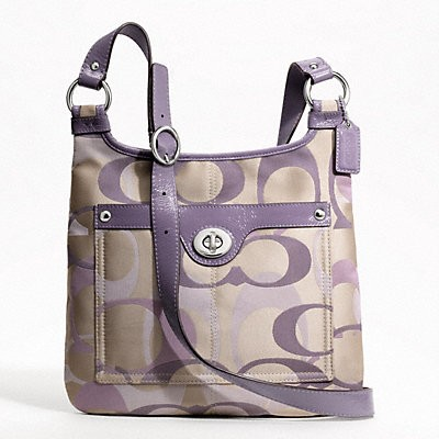 ... Penelope Optic Signature Hippie Cross Body Handbag Khaki Purple F17479