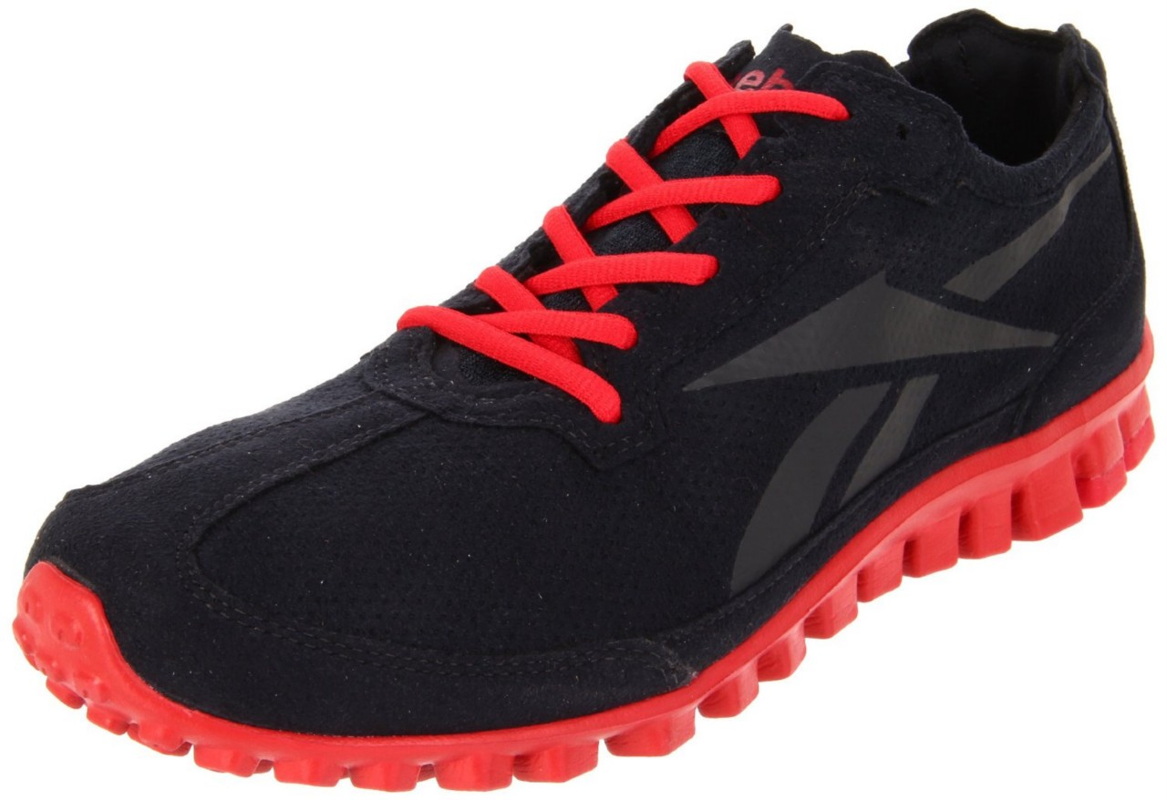 Reebok-Mens-Classic-Real-Flex-Runner-Shoe-Sneaker-Syn-Suede-Black-Excellent-Red
