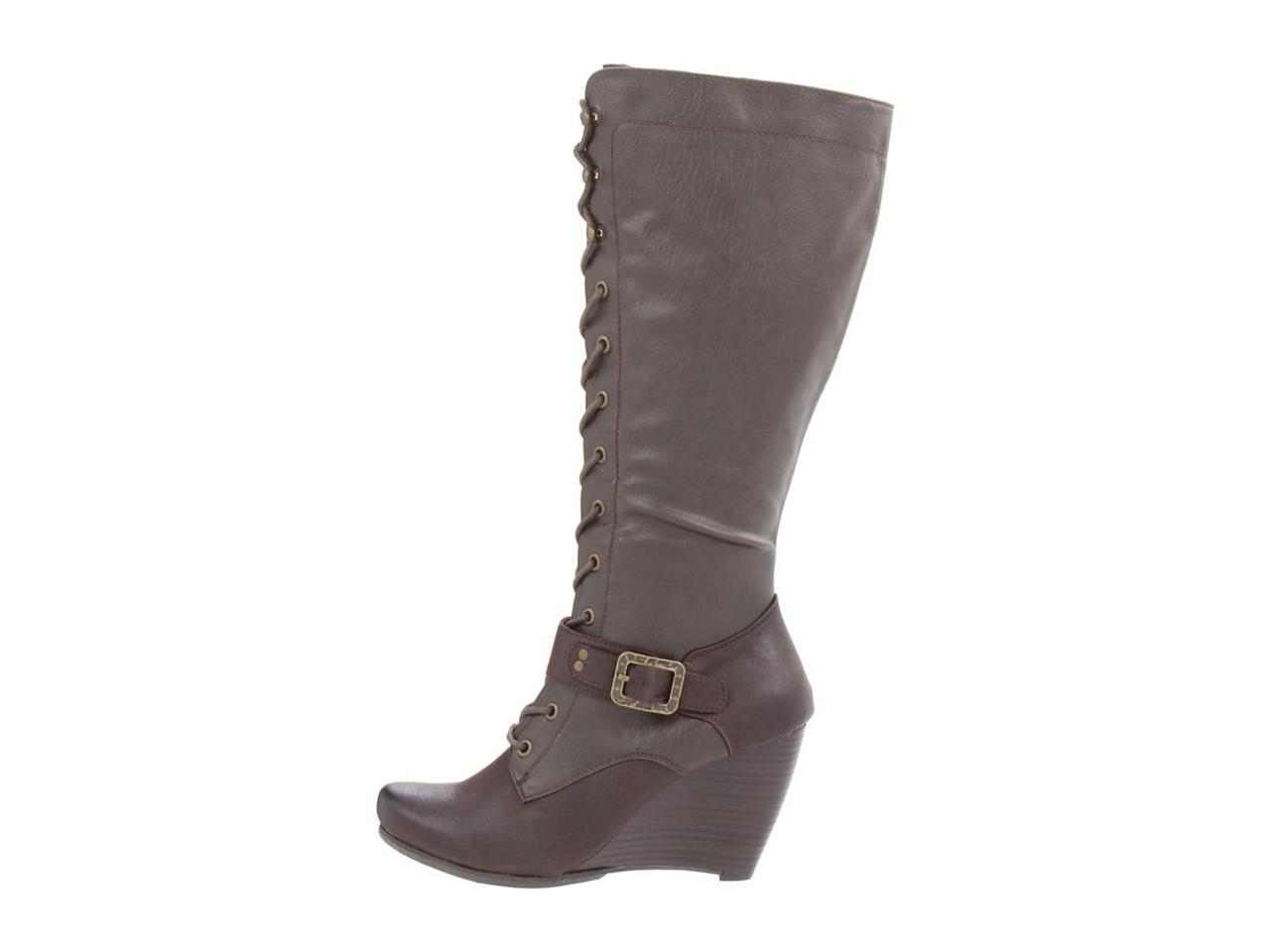 bare traps shoes womens darleen knee hi wedge boots