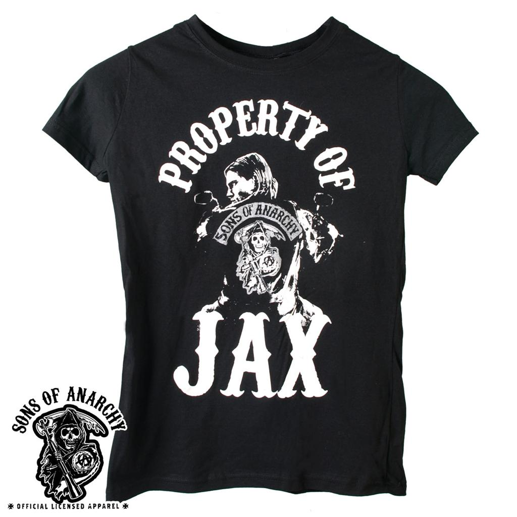 sons of anarchy property of jax girl fit t shirt new s m l. Black Bedroom Furniture Sets. Home Design Ideas