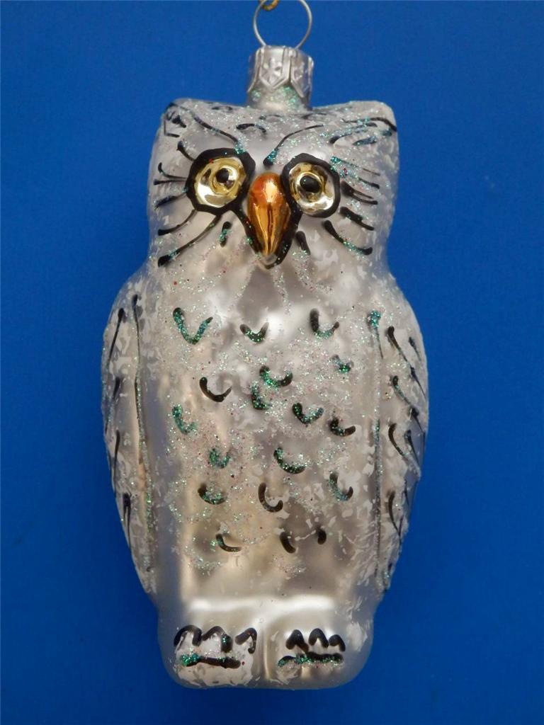 Slvr white owl european blown glass christmas tree