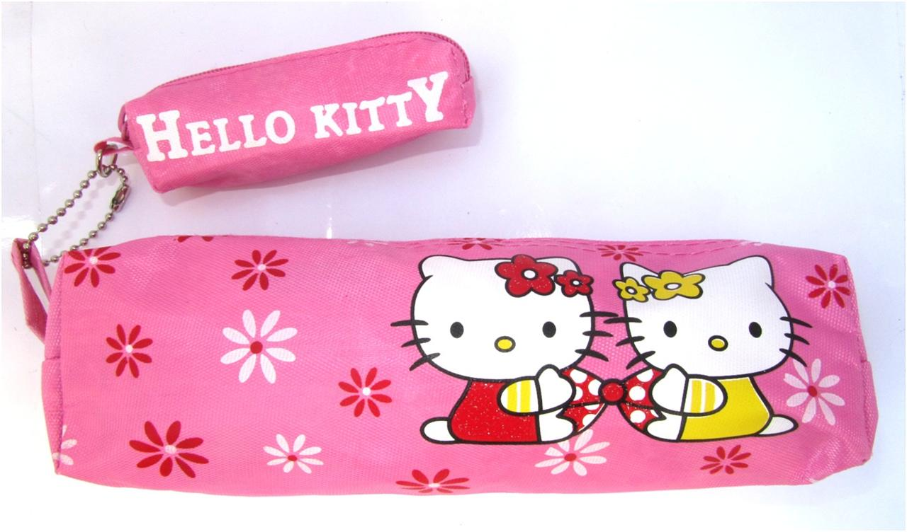 NEW HELLO KITTY PINK FLOWER ZIP UP TUBE RECTANGLE PENCIL CASE WITH LIPSTICK CASE