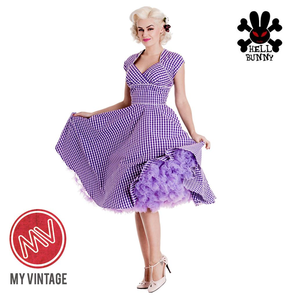 1950s-Style-HELL-BUNNY-Retro-Rockabilly-Purple-Gingham-Lazy-River-Dress-8-16-NEW