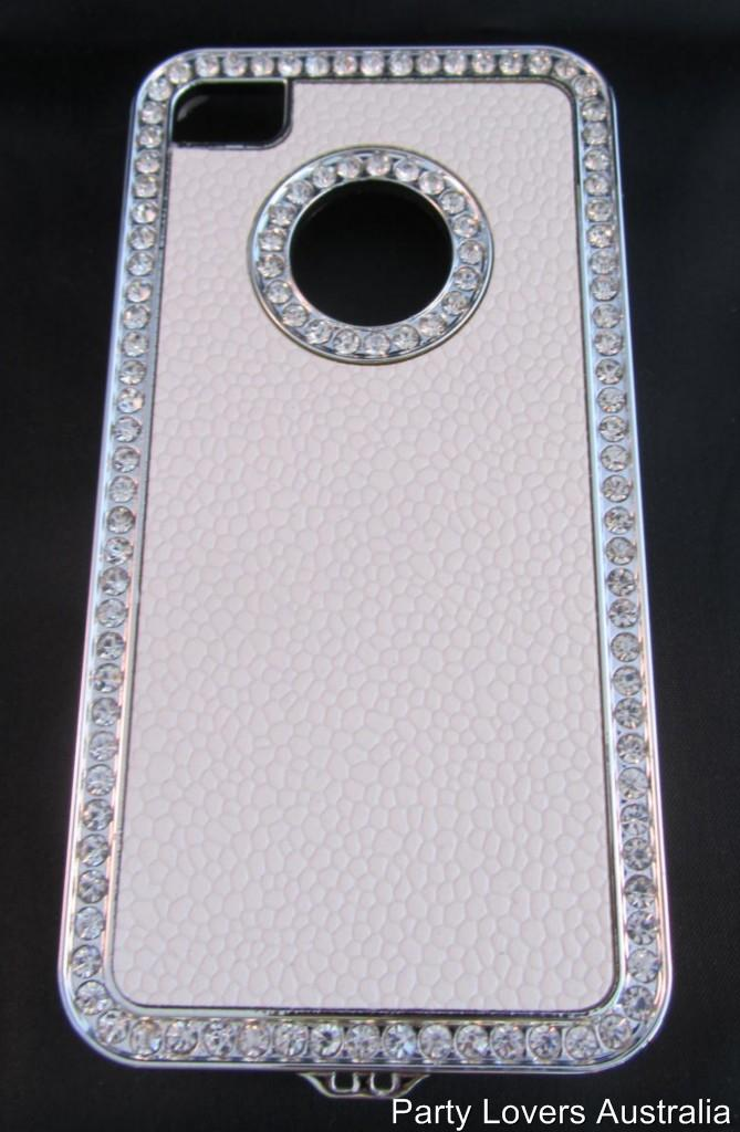 NEW-WHITE-SILVER-BLING-iphone-Cover-Plastic-Case-w-Diamantes-For-Apple-4-4G-4S