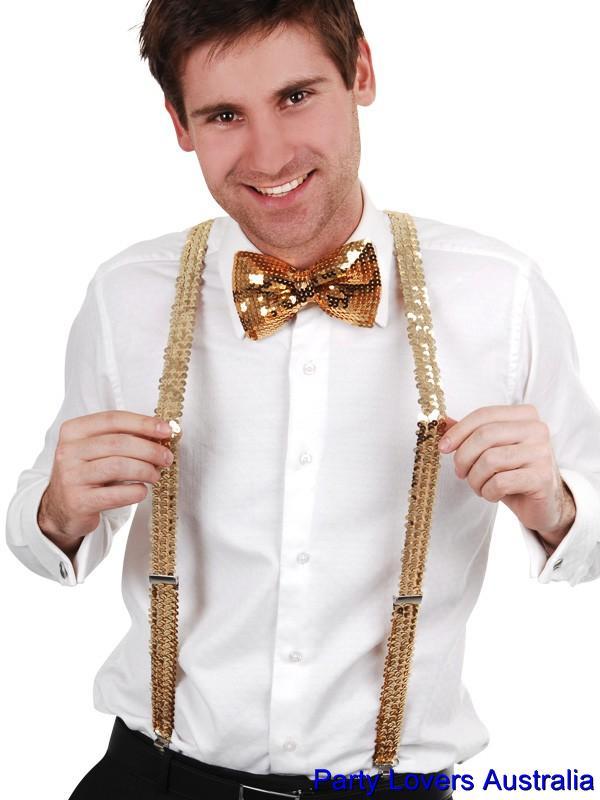 gold sequin suspenders braces bow tie for pimp gangster
