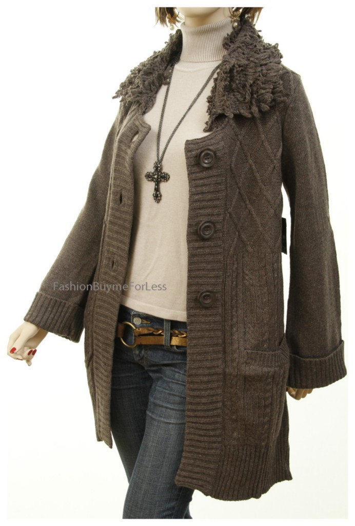 Catalog Celebrity Women Wool Angora Cable Knit Cardigan Jacket