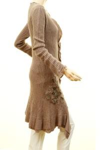 Women Victorian Asymmetric Ruffle Knit Tunic Sweater