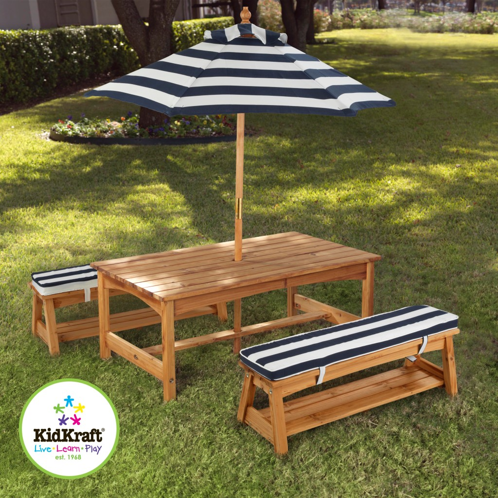 Kidkraft outdoor kids table and chairs set 2 chair benches - Children s picnic table with umbrella ...