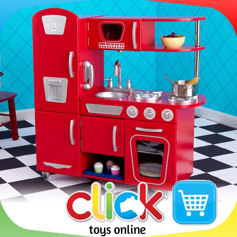 Kidkraft Red Vintage Kitchen Play Set Wooden Toys Retro
