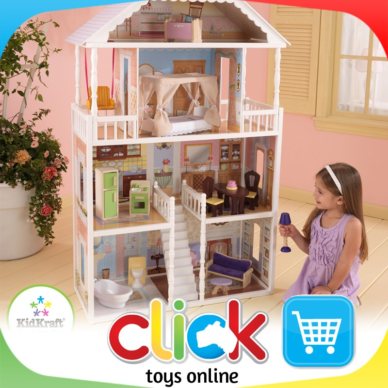 Kidkraft New Savannah Dollhouse Dolls Barbie House Wooden Play Set Furniture Ebay